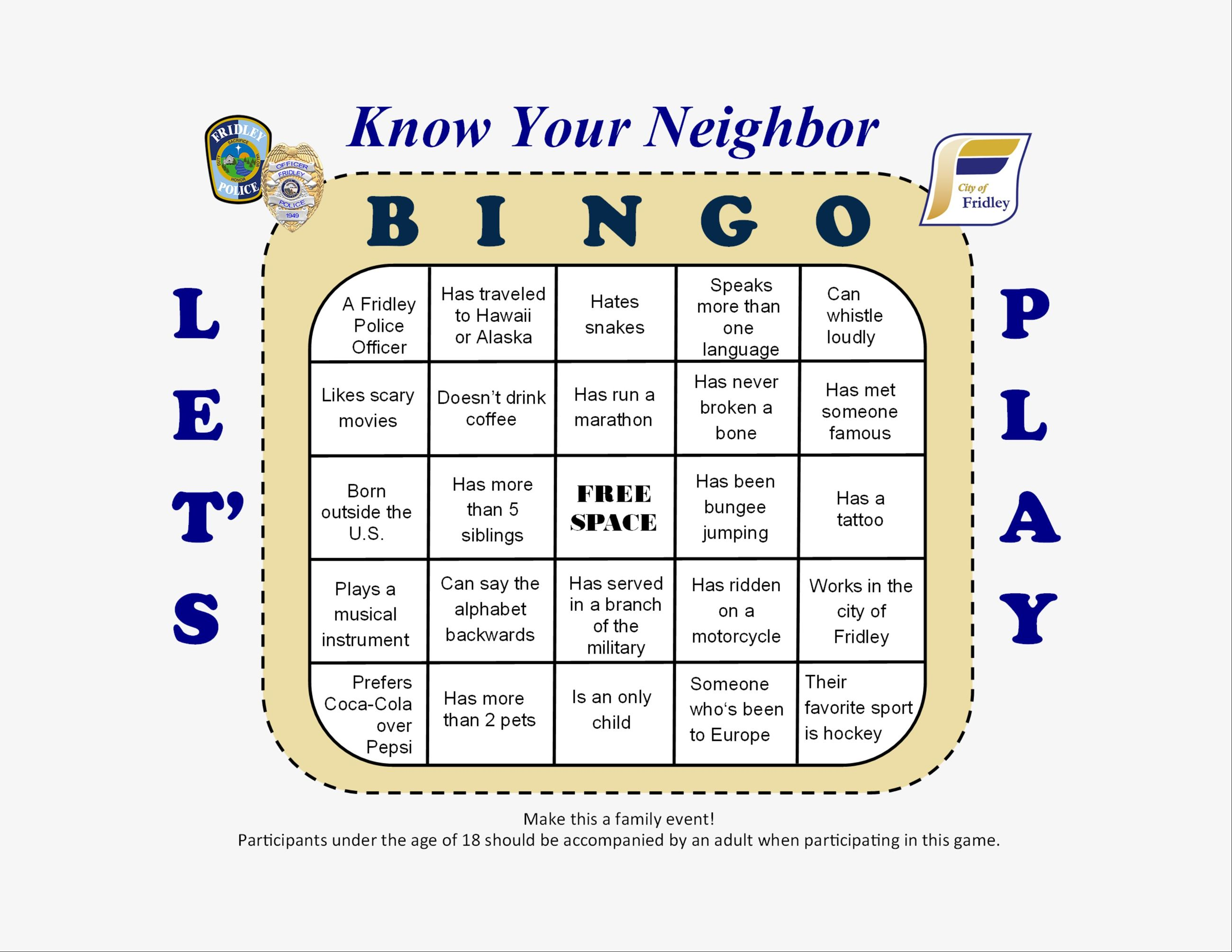 Know Your Neighbor BINGO Card