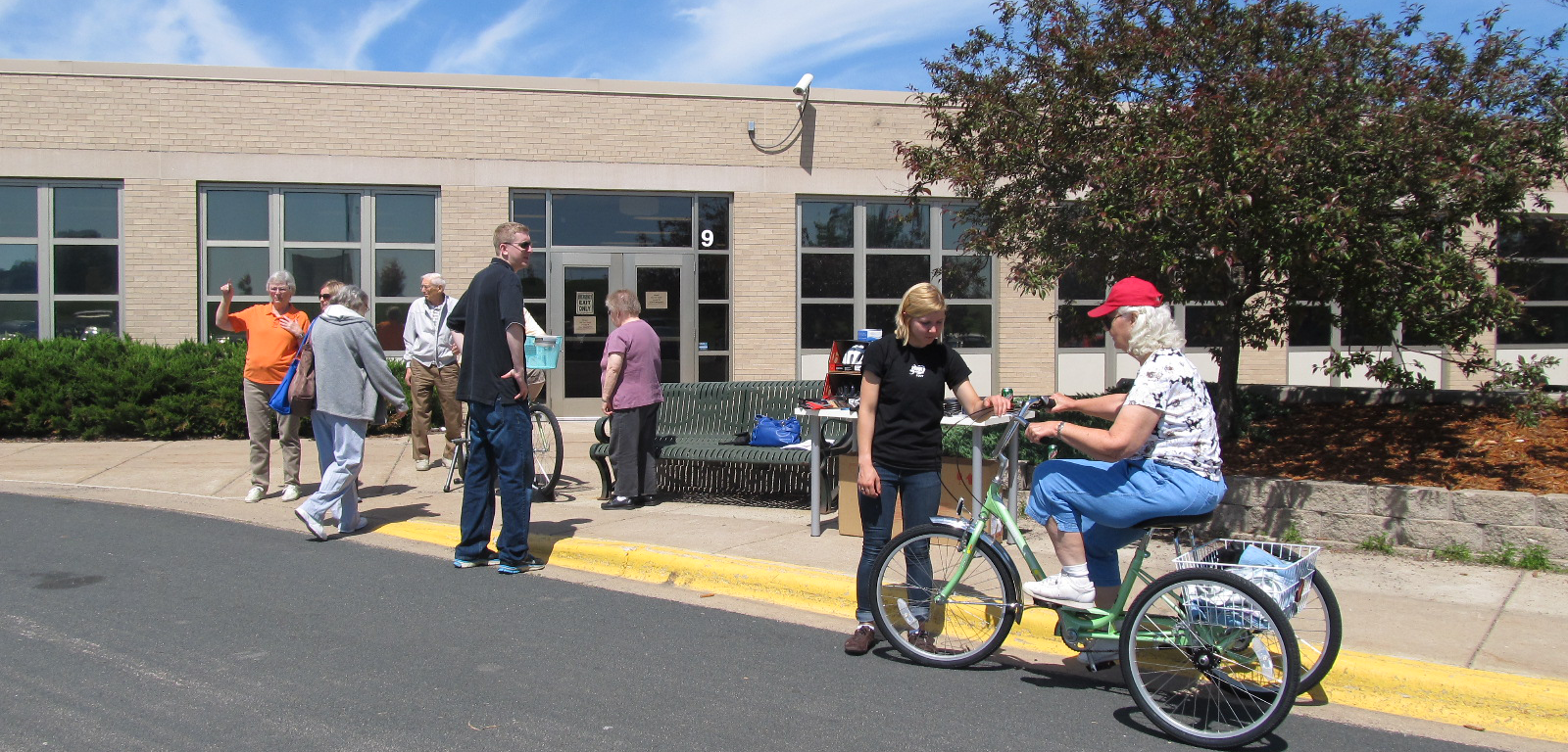 Seniors biking with accessible bike models