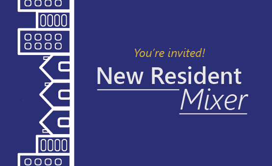 New Resident Mixer icon with houses and apartment buildings icon