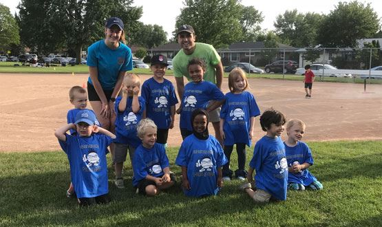 Recreation leaders with t-ball team