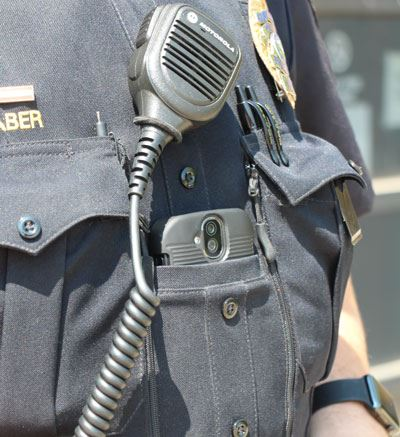 Body worn camera on a police officer